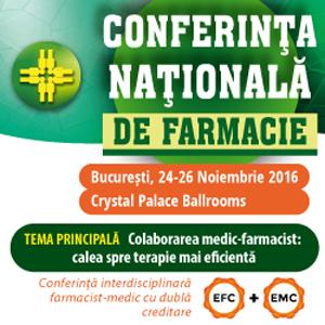 Conferinţa Naţională de Farmacie are loc între 24 și 26 noiembrie, la Bucureşti