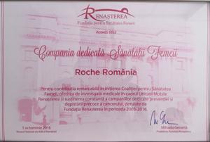 """Roche România a fost desemnată """"Compania dedicată Sănătății Femeii"""", cu ocazia ediției 2016 a Zilei de luptă împotriva cancerului de sân"""