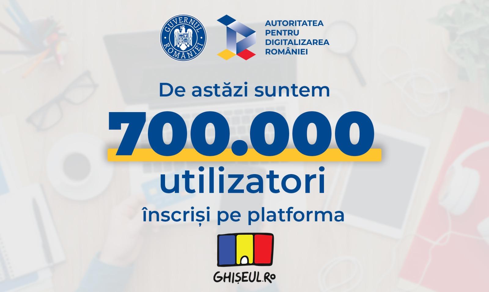 Peste 700.000 de utilizatori s-au înscris în platforma Ghişeul.ro