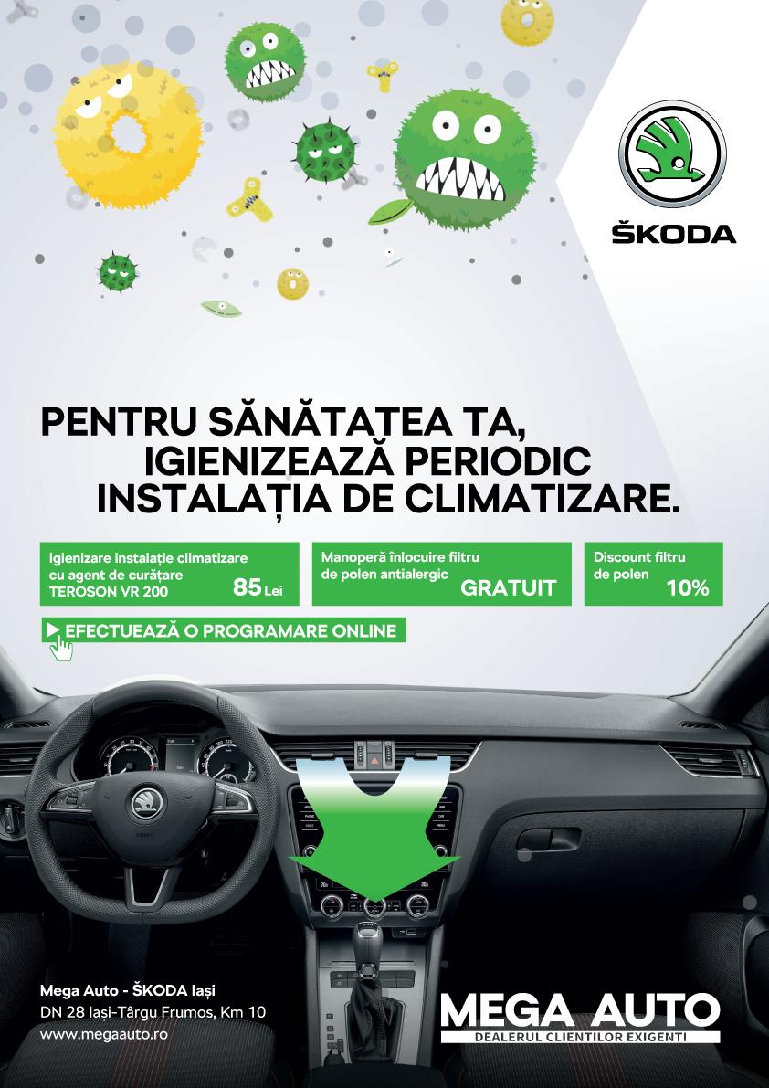 Ofertă valabilă doar la Mega Auto – ŠKODA Iași: igienizarea completă a sistemului de climatizare al mașinii la doar 85 de lei