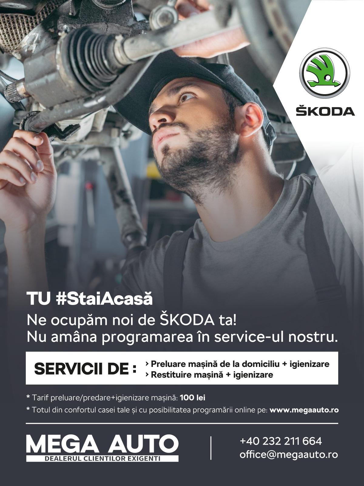 Mega Auto, dealerul ŠKODA în Iași, pune la dispoziție serviciul de preluare mașină de la domiciliu pentru operațiunile de service