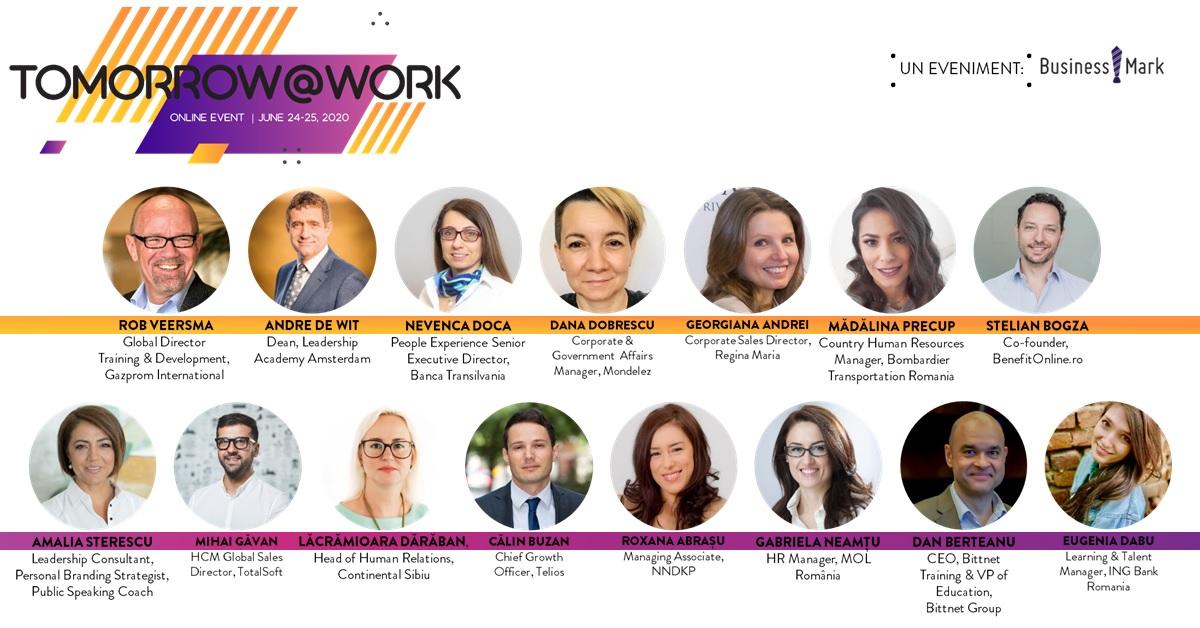 """Provocările din departamentul de HR în contextul pandemei și viitorul forței de muncă – teme de dezbatere la prima ediție online a """"Tomorrow@Work"""""""
