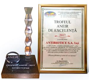 Compania Antibiotice a fost premiată la Gala ANEIR pentru calitatea produsului Nistatină – standard de referință la nivel mondial