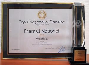 Antibiotice Iaşi a fost premiată la Gala Topului Naţional al Firmelor