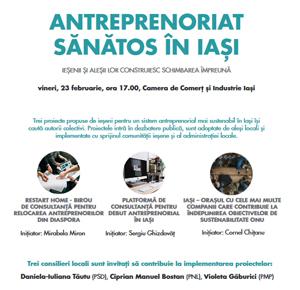 """Dezbatere cu tema """"Antreprenoriat Sănătos în Iași"""", organizată de Camera de Comerț și Industrie"""