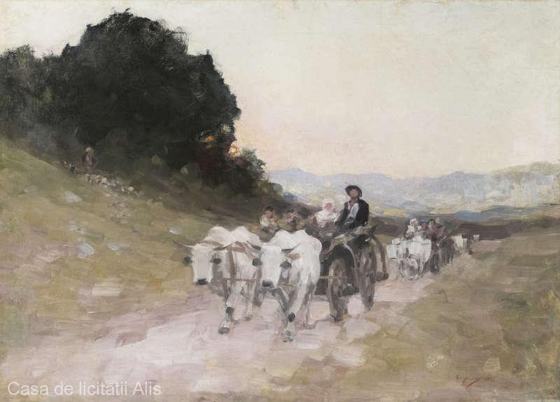 """Tabloul """"Care cu boi"""" de Nicolae Grigorescu este scos la licitație, prețul estimat fiind între 90.000 și 120.000 de euro"""
