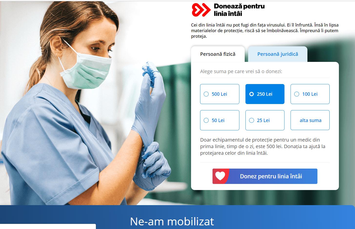 """Patru mari companii românești lansează platforma """"Donează pentru linia întâi"""" pentru a sprijini lupta împotriva coronavirusului"""