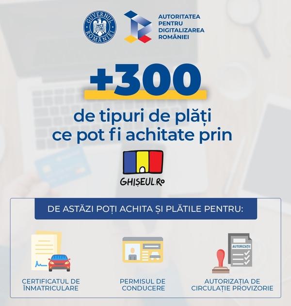 Prin Ghişeul.ro, pot fi plătite online taxele pentru paşaport, permis de conducere, certificatul de înmatriculare