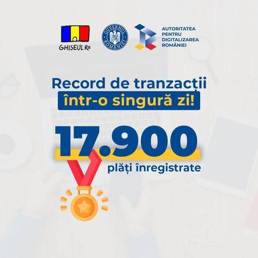 Record de tranzacţii pe Ghişeul.ro: aproape 18.000 de plăţi într-o singură zi