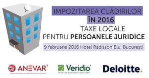 """Seminarul """"Impozitarea cladirilor in 2016. Taxele locale pentru persoane juridice"""" are loc pe 9 februarie la Bucuresti"""