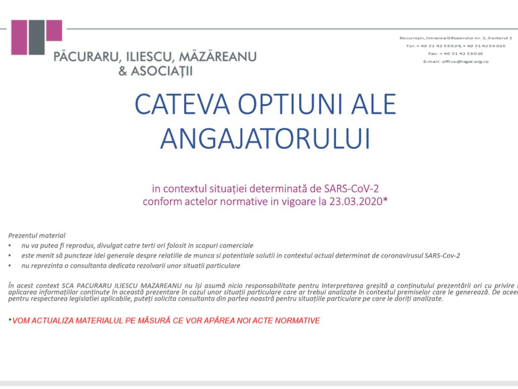 Material informativ: Opțiunile angajatorului pe perioada Stării de Urgență