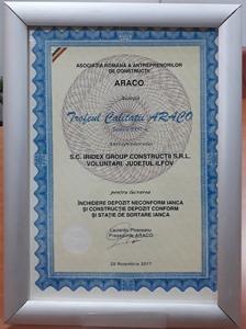 ARACO a premiat Iridex pentru calitate în construcții