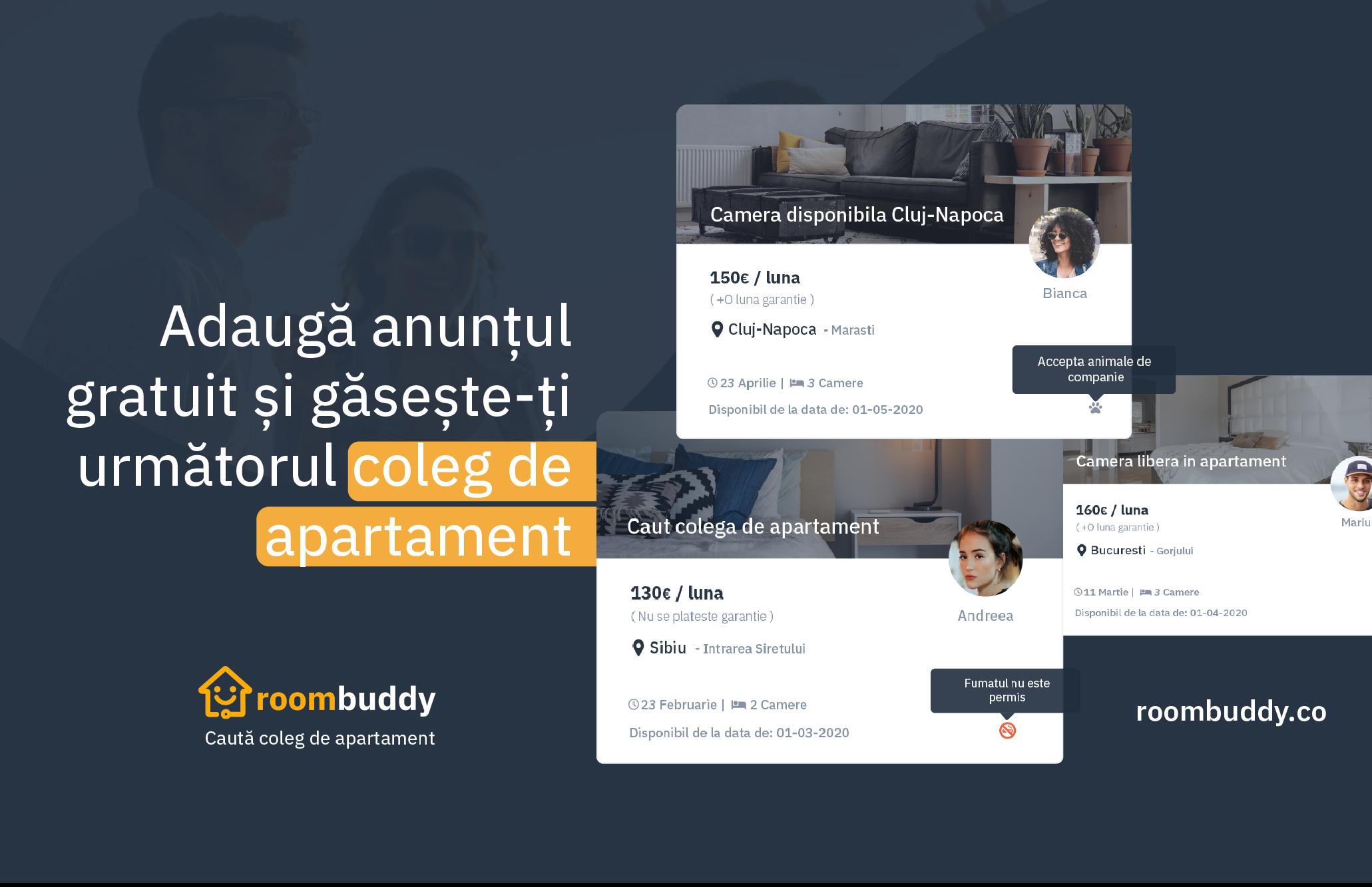Roombuddy, prima platformă gratuită pentru cei care își caută coleg de apartament