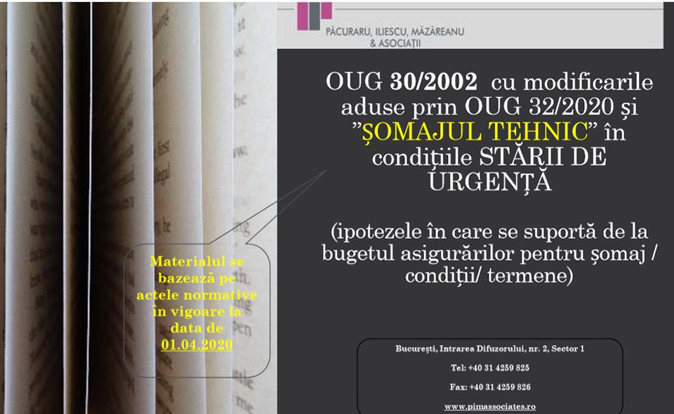 Material informativ: OUG 30/2002 și ȘOMAJUL TEHNIC în condițiile Stării de Urgență. UPDATE 1 Aprilie